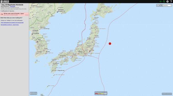 7.3 Off the east coast of Honshu, Japan 2013-10-25 13:10:16 UTC-04:00 10.0 km