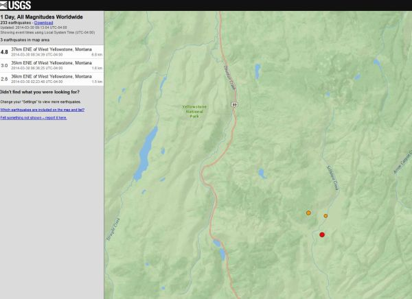 4.8 37km ENE of West Yellowstone, Montana 2014-03-30 08:34:39 UTC-04:00 6.8 km